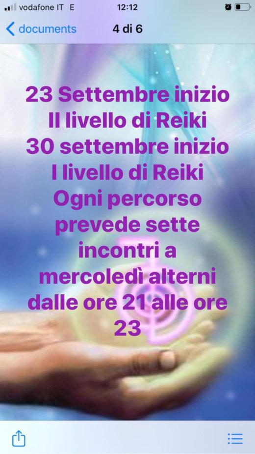 23 settembre 2020 - I e II livello di Reiki